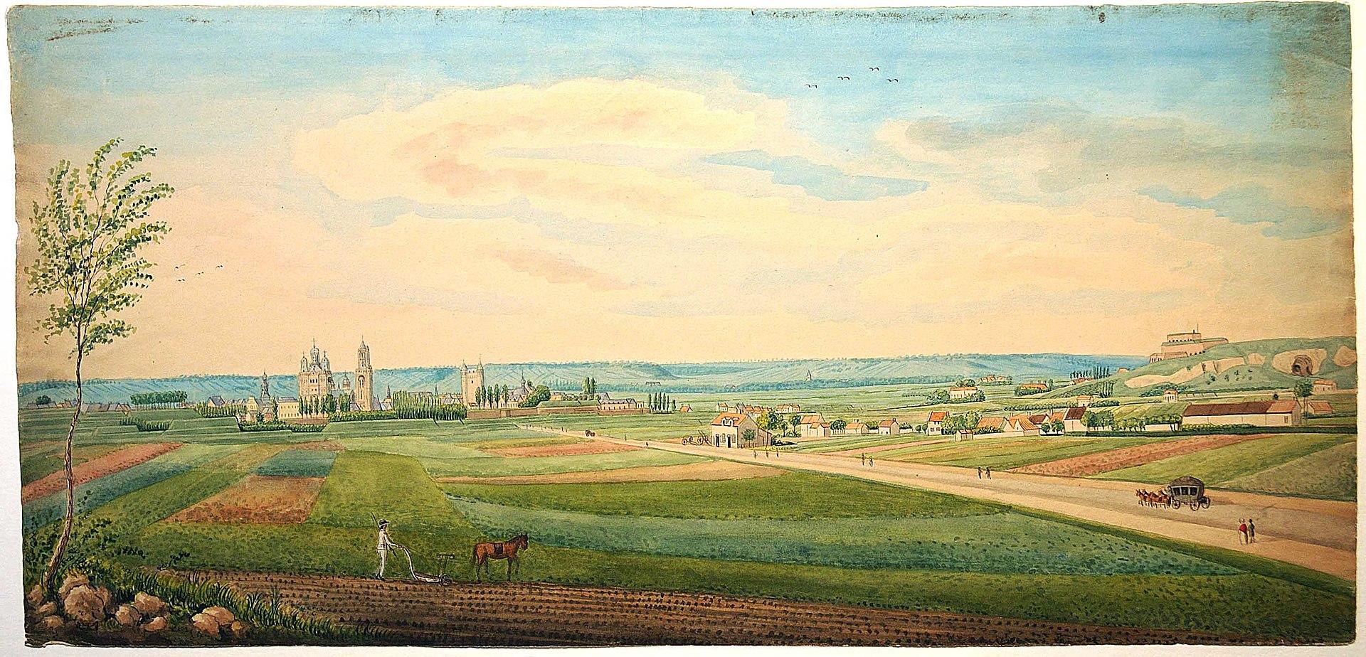 Ingekleurde tekening van Philippe van Gulpen met een zicht op de stad <br> Maastricht vanuit het zuidwesten. Rechts op de voorgrond de Tongerseweg. <br> Collectie Van der Noordaa in het RHCL, Maastricht, CVDN 349
