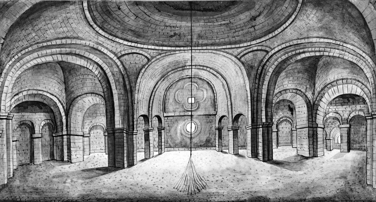 Reproductie tekening Philippe van Gulpen: <br>Klokkentouw in de Keizerzaal (midden 19e eeuw)
